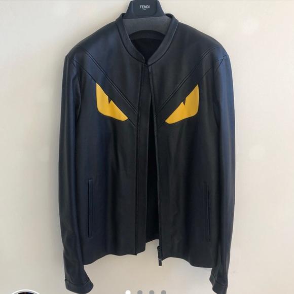 02da6338867c Fendi Jackets   Coats   Monster Eyes Genuine Leather Jacket   Poshmark